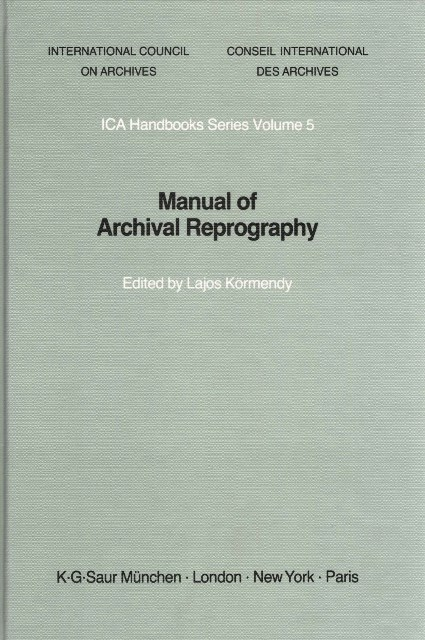 Manual of Archival Reprography